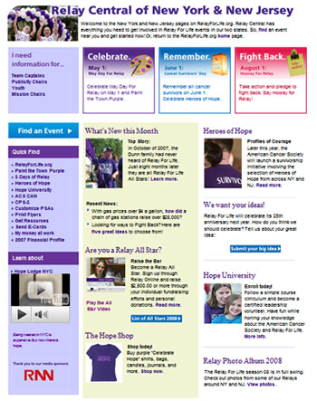 Relay For Life Relay Central Page