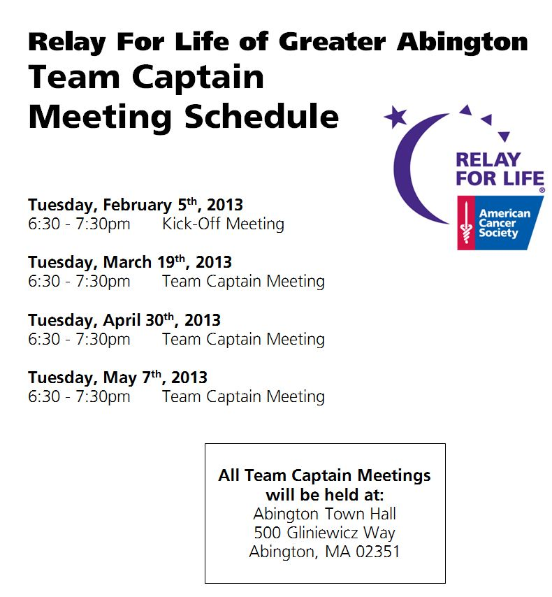 Abington TC Mtg schedule 2013