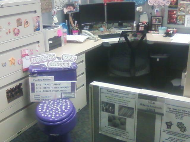 purple toilet office