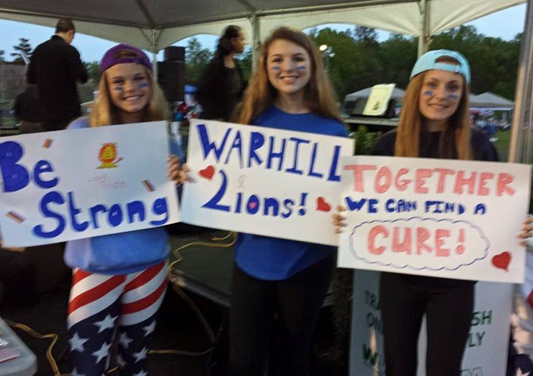Media Wall 2 Warhill Students with Signs