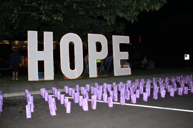 Luminaria Bags with Hope Sign (Nighttime)