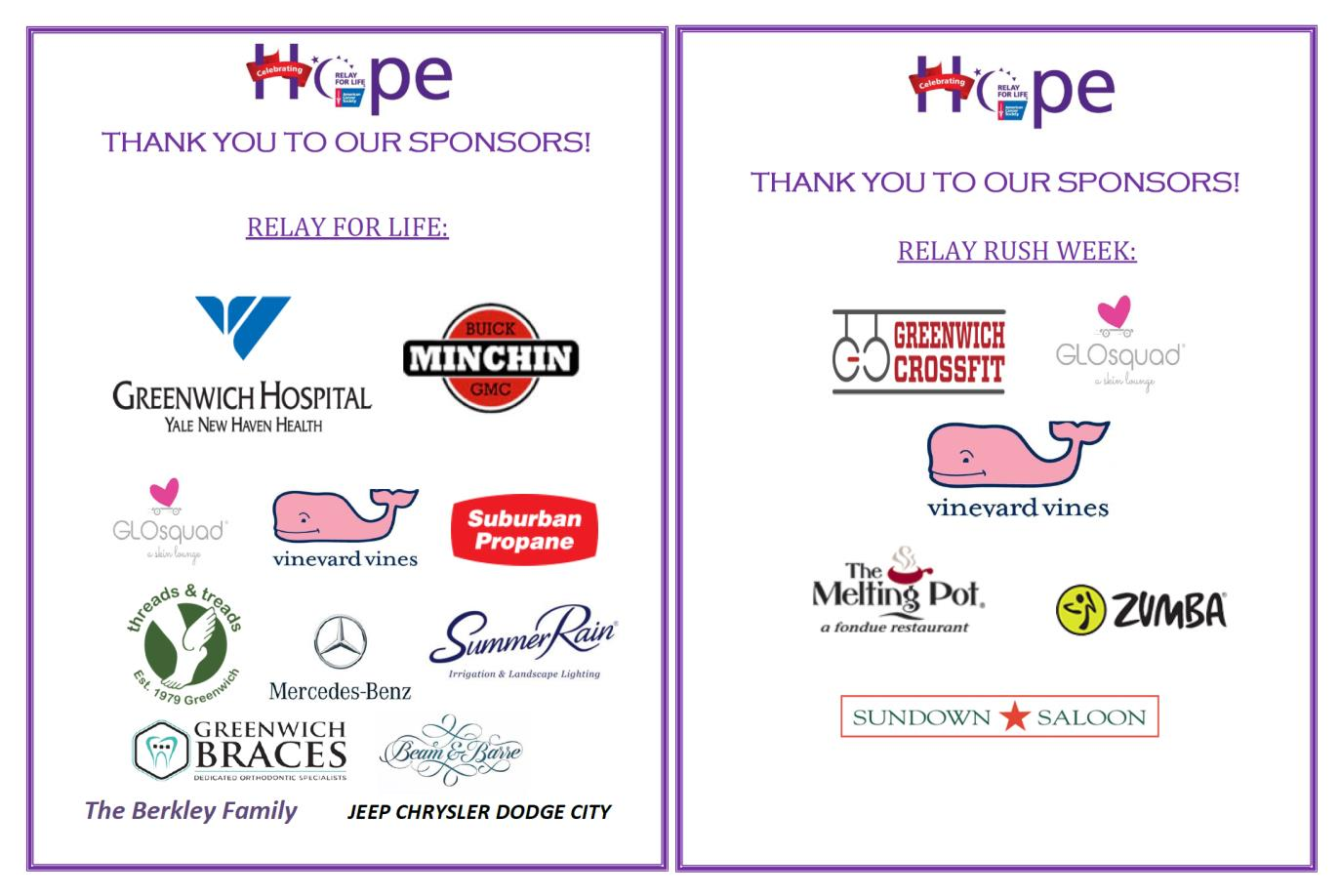 Thank you Relay Rush/ Sponsors