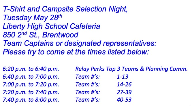 2013 Tshirt Night Schedule