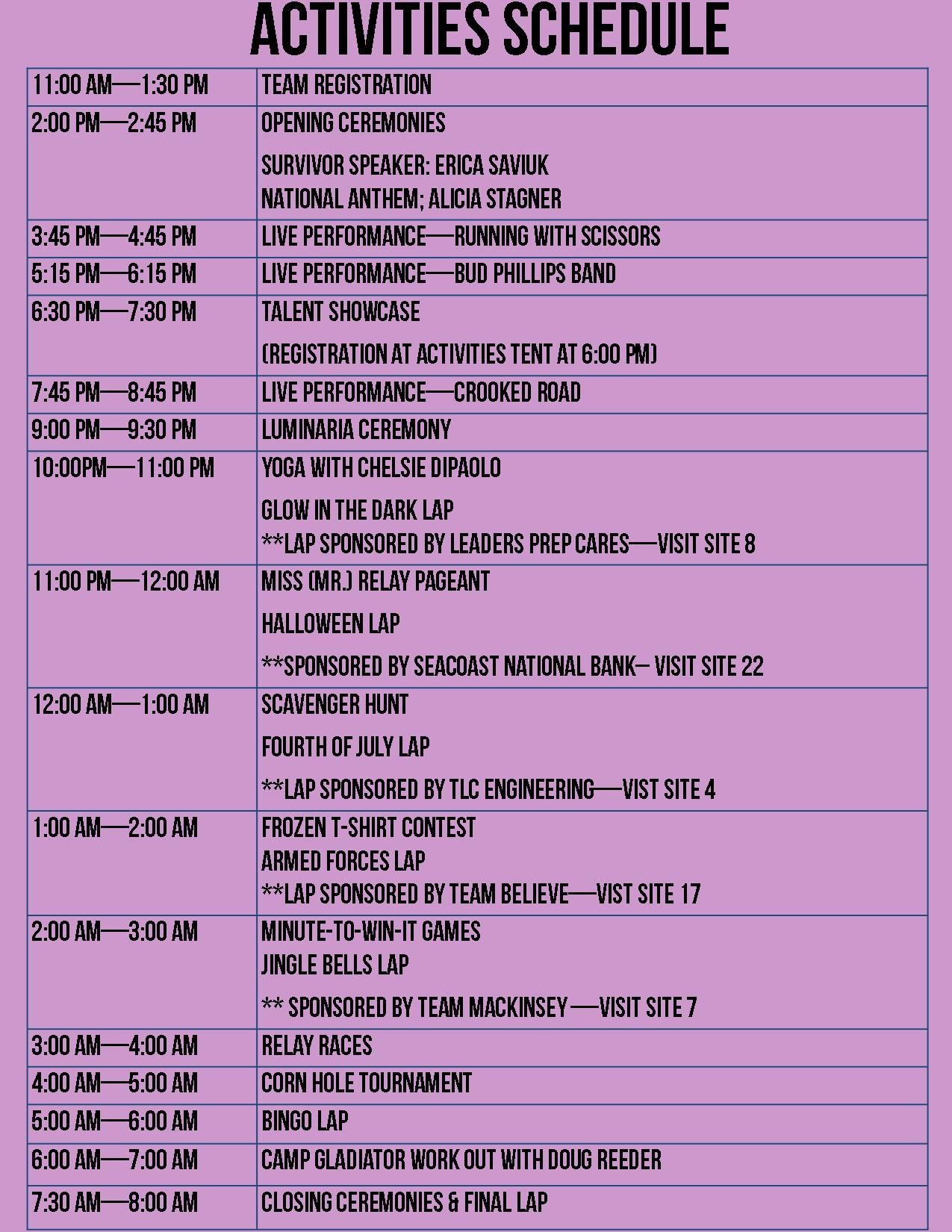 Downtown Activity Schedule
