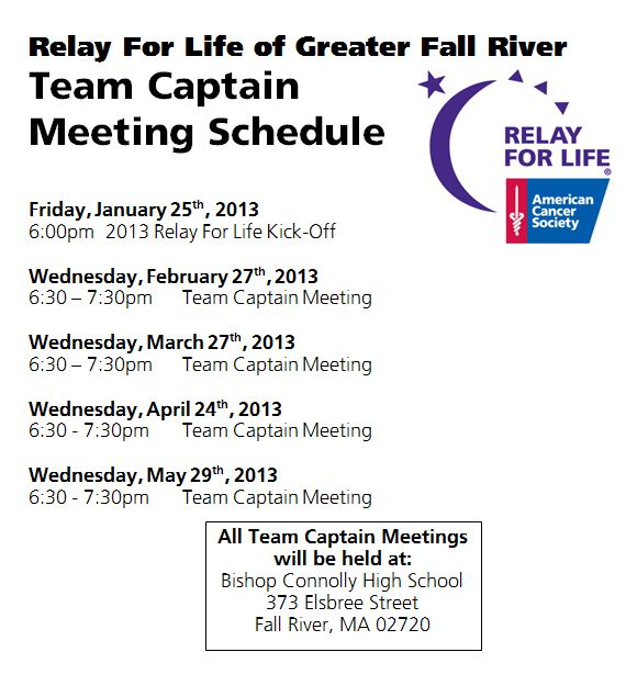 Fall River Mtg Schedule